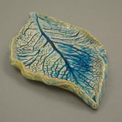 patera,turkus,dekoracja,liść,wiosna,naczynie, - Ceramika i szkło - Wyposażenie wnętrz