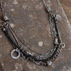 naszyjnik ze srebra i czarnego spinelu - Naszyjniki - Biżuteria