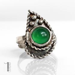 pierścionek srebny,agat brazylijski,srebro - Pierścionki - Biżuteria
