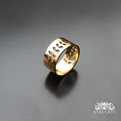 obrączka,roślinna,pozłacana - Pierścionki - Biżuteria