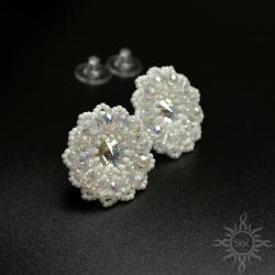 misterne,mandala,ślub,białe,śnieżynka,ażurowe, - Kolczyki - Biżuteria