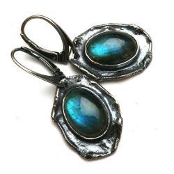 labradoryt,blask,srebrne,kobalt,niebieskie,retro - Kolczyki - Biżuteria