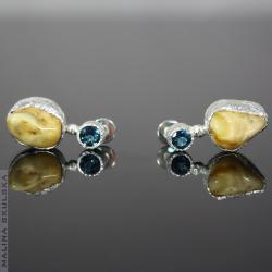 topaz,bursztyn,london blue,sztyfty,młotkowane - Kolczyki - Biżuteria