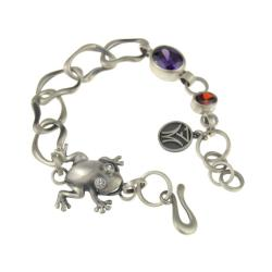 Srebrna bransoletka z żabą i cyrkoniami - Bransoletki - Biżuteria