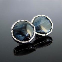pietersite,srebro,sztyfty,Unikat - Kolczyki - Biżuteria