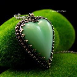 nehesi,naszyjnik,wisior,srebrny,serce,chryzoprazem - Naszyjniki - Biżuteria