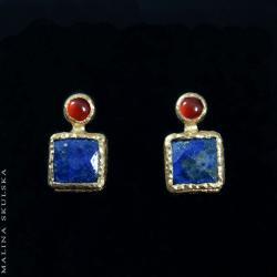 energetyczne,kolorowe,lapis lazuli,karneol,sztyfty - Kolczyki - Biżuteria