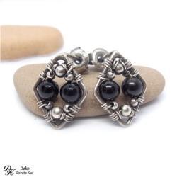 kolczyki,turmalin,czarny,romby,wirewrapping - Kolczyki - Biżuteria