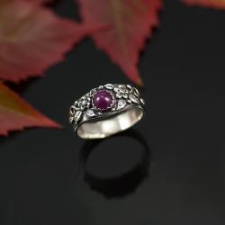 unikatowy pierścionek,naturany rubin,delikatny - Pierścionki - Biżuteria