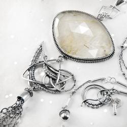 srebrny,naszyjnik,wire-wrapping,kwarc,rutylowy - Naszyjniki - Biżuteria