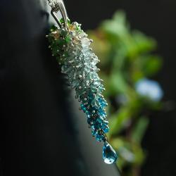 grono błękitne,bogaty wisior,unikat - Wisiory - Biżuteria