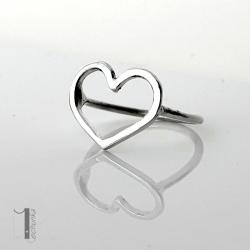 pierścionek srebrny,metaloplastyka,serce - Pierścionki - Biżuteria