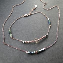 srebro złocone,różowe złoto,hematyt,Swarovski - Naszyjniki - Biżuteria