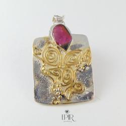 wisior srebrny z turmalinem - Wisiory - Biżuteria