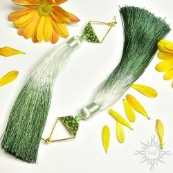 na lato,etno,boho,geometryczne,chwosty,długie,ziel - Kolczyki - Biżuteria