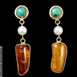 turkus,perła,bursztyn,złocone,długie,letnie - Kolczyki - Biżuteria