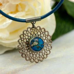 srebrny naszyjnik,niebieski kamień,unikat,artseko - Naszyjniki - Biżuteria