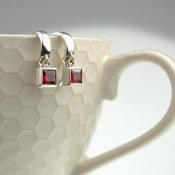 srebrne,kolczyki,z cyrkonią, - Kolczyki - Biżuteria