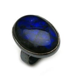 labradoryt,blask,srebrne,kobalt,niebieskie,retro - Pierścionki - Biżuteria