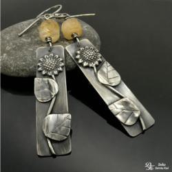 kolczyki,cytryn,unikat,słonecznik,srebro,kwiaty - Kolczyki - Biżuteria