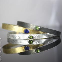 kolorowe,bransoletki,zestaw,komplet,peridot,szafir - Bransoletki - Biżuteria