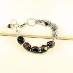 srebrna bransoleta z granatem - Bransoletki - Biżuteria