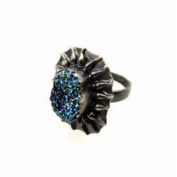 srebro,druza,pierścionek - Pierścionki - Biżuteria