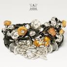 Bransoletki bransoleta damska,skórzana biżuteria z bursztynem