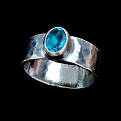 TOPAZ,srebrny,blask,srebro,niebieski,klejnot,retro - Pierścionki - Biżuteria