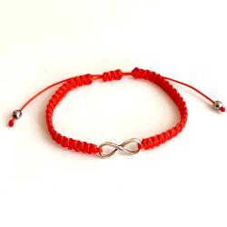 bransoletka,czerwona,nieskończoność,srebrna - Bransoletki - Biżuteria