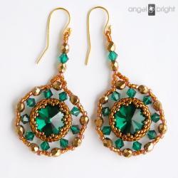 kolczyki,długie,szmaragdowe,złote,swarovski - Kolczyki - Biżuteria