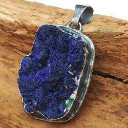 azuryt,blask,minerał,matowy,szary,kobalt,srebrny - Wisiory - Biżuteria