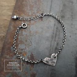srebro,serce,surowa - Bransoletki - Biżuteria