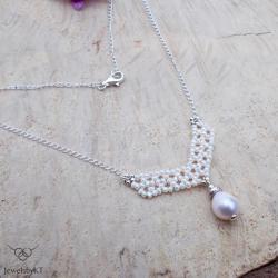 srebro,geometryczne wzory,biżuteria z perłami - Naszyjniki - Biżuteria