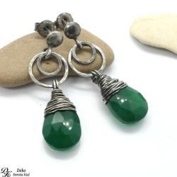 kolczyki,zielone,krople,onyks zielony,otulone - Kolczyki - Biżuteria