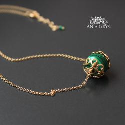 pozłacany,naszyjnik,malachit,zielony - Naszyjniki - Biżuteria