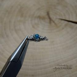 pierścionek,regulowany,stal chirurgiczna,apatyt - Pierścionki - Biżuteria