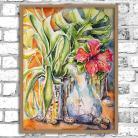 Obrazy akwarela,kwiaty,martwa natura,tropikalny