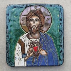 Beata Kmieć,ikona ceramiczna,Jezus,serce - Ceramika i szkło - Wyposażenie wnętrz