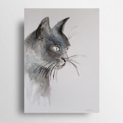 kot,tusz,papier - Obrazy - Wyposażenie wnętrz