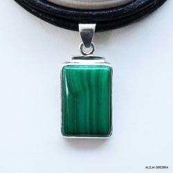 wiisiorek z malachitem,srebro,biżuteria,wisiory - Wisiory - Biżuteria