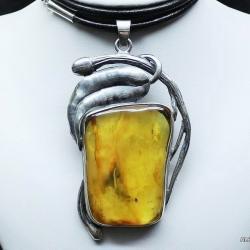 bursztyn,wisior z bursztynem,srebro,biżuteria - Wisiory - Biżuteria
