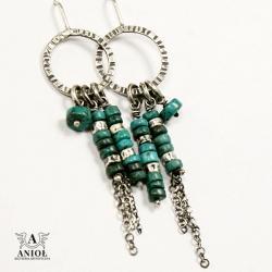 kolczyki z turkusem,etniczna biżuteria - Kolczyki - Biżuteria
