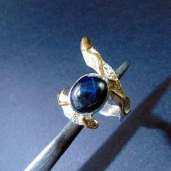 Unikatowy pierścionek srebrny pozłacany,Art - Pierścionki - Biżuteria