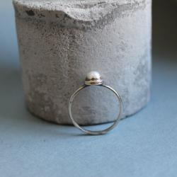 pierścionek srebro perła - Pierścionki - Biżuteria