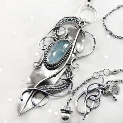 srebrny,naszyjnik,piórko,wire-wrapping,akwamaryn - Naszyjniki - Biżuteria