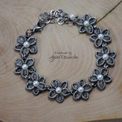 bransoletka,kwiaty,kwiatki,wire wrapping - Bransoletki - Biżuteria
