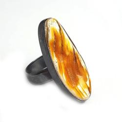 regulowany,srebrny,bursztyn,blask,minerał,retro, - Pierścionki - Biżuteria