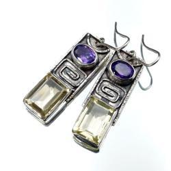 Kolczyki z cytrynami i ametystami - Kolczyki - Biżuteria