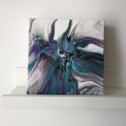 pouring,abstrakcja,nowoczesny,fiolet,akryl - Obrazy - Wyposażenie wnętrz